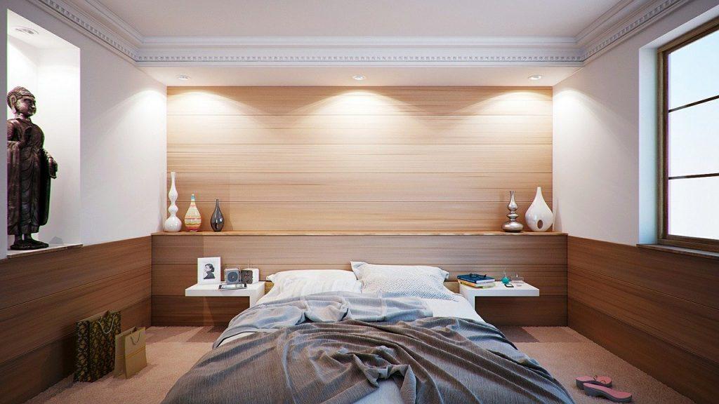 camera da letto con faretti