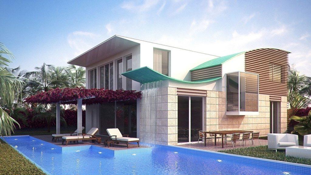casa con giardino con piscina