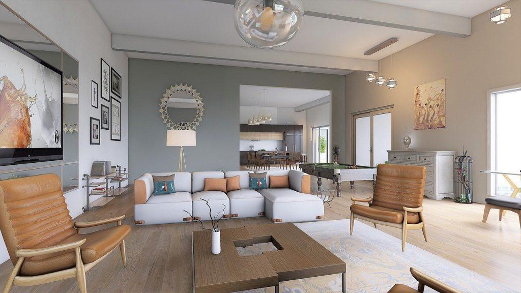 salotto moderno con lampadari