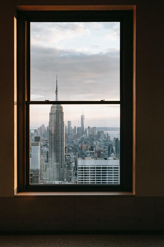 Finestra in alluminio con vista panoramica